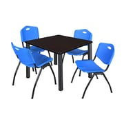 "Regency Kee 36"" Square Breakroom Table- Mocha Walnut/ Black and 4 'M' Stack Chairs- Blue (TB3636MWPBK47BE)"