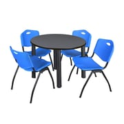 "Regency Kee 42"" Round Breakroom Table- Grey/ Black and 4 'M' Stack Chairs- Blue (TB42RDGYPBK47BE)"