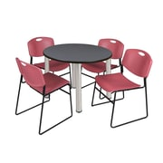 """Regency Kee 42"""" Round Breakroom Table- Grey/ Chrome and 4 Zeng Stack Chairs- Burgundy (TB42RDGYPCM44BY)"""