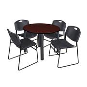 "Regency Kee 42"" Round Breakroom Table- Mahogany/ Black and 4 Zeng Stack Chairs- Black (TB42RDMHPBK44BK)"