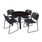 "Regency Kee 42"" Round Breakroom Table- Mocha Walnut/ Black and 4 Zeng Stack Chairs- Black (TB42RDMWPBK44BK)"