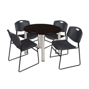 "Regency Kee 42"" Round Breakroom Table- Mocha Walnut/ Chrome and 4 Zeng Stack Chairs- Black (TB42RDMWPCM44BK)"