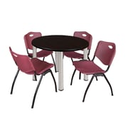 "Regency Kee 42"" Round Breakroom Table- Mocha Walnut/ Chrome and 4 'M' Stack Chairs- Burgundy (TB42RDMWPCM47BY)"