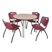 "Regency Kee 48"" Round Breakroom Table- Beige/ Chrome and 4 'M' Stack Chairs- Burgundy (TB48RDBEPCM47BY)"