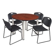 "Regency Kee 48"" Round Breakroom Table- Cherry/ Chrome and 4 Zeng Stack Chairs- Black (TB48RDCHPCM44BK)"