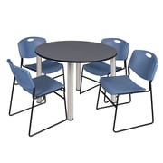 "Regency Kee 48"" Round Breakroom Table- Grey/ Chrome and 4 Zeng Stack Chairs- Blue (TB48RDGYPCM44BE)"