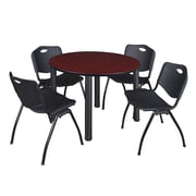 "Regency Kee 48"" Round Breakroom Table- Mahogany/ Black and 4 'M' Stack Chairs- Black (TB48RDMHPBK47BK)"