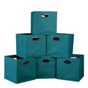 Niche Cubo Set of 6 Foldable Fabric Storage Bins- Teal (HTOTE6PKTL)