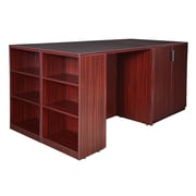 Regency Legacy Stand Up Storage Cabinet/ 3 Desk Quad with Bookcase End- Mahogany (LSSC3SD8546MH)