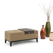 Oregon Storage Ottoman with Tray in Khaki Beige (3AXCOT-246-BR)