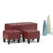 Dover 3 piece Faux Leather Storage Ottoman in Radicchio Red (AY-F-15B-GR)