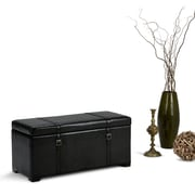 Dorchester 5 piece Faux Leather Storage Ottoman in Midnight Black (3AXCOT-239-BL)