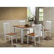 Boraam Bloomington 5 Piece Dining Set, White and Honey Oak (22033)