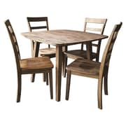Boraam Boulder 5-Piece Dining Set, Gray Wire-Brush Finish (71038)