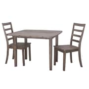 Boraam Boulder 3-Piece Dining Set, Gray Wire-Brush Finish (71037)