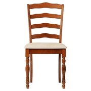 Boraam Regency Ivory Linen Upholstered Dining Chair, Burnt Walnut Finish, Set of 2 (21057)