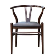 Boraam Wishbone Bonded Leather Upholstered Dining Chair, Walnut (53018)