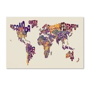 "Trademark Fine Art Michael Tompsett 'Text Map of the World' 12"" x 19"" Canvas Stretched (190836022311)"