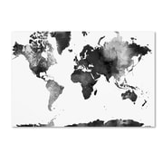 "Trademark Fine Art Marlene Watson 'World Map BG-1' 14"" x 19"" Canvas Stretched (190836200948)"