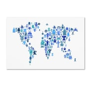 "Trademark Fine Art Michael Tompsett 'Robot Map of the World Blue' 12"" x 19"" Canvas Stretched (190836019458)"