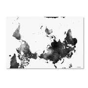 "Trademark Fine Art Marlene Watson 'Upside Down Map of the World BG-1' 12"" x 19"" Canvas Stretched (190836200382)"