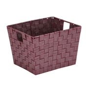 Simplify Medium Lurexx Striped Woven Storage Bin in Burgundy