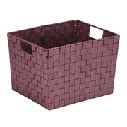 Simplify Large Lure Striped Woven Storage Bin in Burgundy