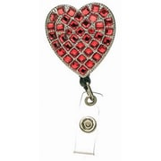 Accent Accessories Badge Holder, Crystal Heart-Red - Pull-Reel( ANCRD67127)