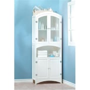 SWM Wood White Glass Door Bathroom Linen Storage Cabinet (SWM858)