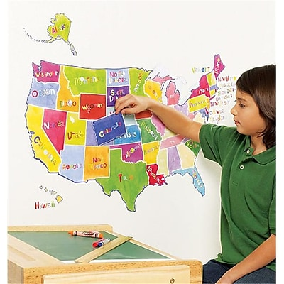 Wallies Wallcoverings Peel & Stick Wall Play US State Map( WLWC052) 2598948