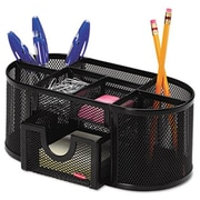 Eldon Office Products Mesh Pencil Cup Organizer, Four Compartments, Steel, 9 1/3 x 4 1/2 x 4, Black (AZERTY21247)