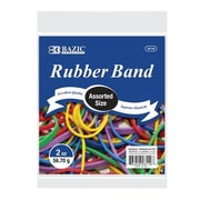 Bazic Products BAZIC 2 Oz.- 56.70 g Assorted Sizes and Colors Rubber Bands - Case of 36 (BAZC1741)