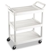 Rubbermaid Commercial Prod. Service Cart, 200-lb Cap, Three-Shelf, 18-5/8w x 33-5/8d x 37-3/4h, Off-White (AZERTY21197)