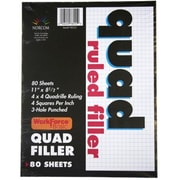 Norcom Inc 11 in. X 8.5 in. Quad Ruled Filler Paper 80 Count( JNSN71043)