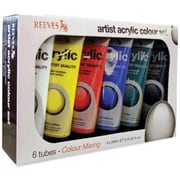 Reeves 6 x 200ml Acrylic Paint Colour Mixing Set (ALV10629)