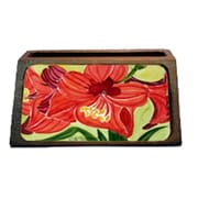 Carolines Treasures Flower - Amaryllis Decorative Desktop Professional Wooden Business Card Holder( CRLT16296)