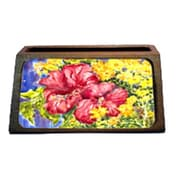 Carolines Treasures Hibiscus Decorative Desktop Professional Wooden Business Card Holder( CRLT16303)