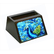 Carolines Treasures Peacock Straight Up In Blue Decorative Desktop Professional Wooden Business Card Holder( CRLT55630)