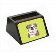Carolines Treasures 4 x 1.25 x 2 In. Checkerboard Lime Green English Bulldog Business Card Holder( CRLT63390)