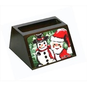 Carolines Treasures Friends Snowman And Santa Claus Decorative Desktop Professional Wooden Business Card Holder( CRLT55631)