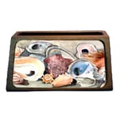 Carolines Treasures Sea Shells Decorative Desktop Professional Wooden Business Card Holder( CRLT13563)