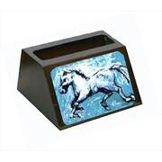 Carolines Treasures Shadow The Horse In Blue Decorative Desktop Professional Wooden Business Card Holder (CRLT55634)