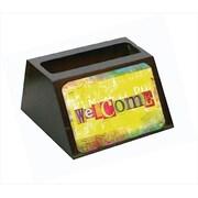 Carolines Treasures Artsy Welcome Decorative Desktop Professional Wooden Business Card Holder (CRLT56076)
