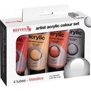 Reeves 130298 Reeves Metallic Acrylic Set 75ml 4-Pkg- (NMG44828)