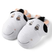 Aerusi Women Home Spa Plush Slipper Cow One Size Fits All