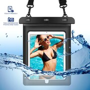 SumacLife Waterproof Pouch Case with Shoulder Strap For use with 10 to 11 Inch Tablets Black