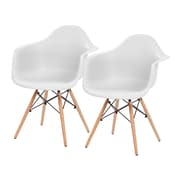 IRIS® Plastic Shell Chair With Arm Rest, 2 Pack, White (586715)