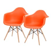IRIS® Plastic Shell Chair With Arm Rest, 2 Pack, Orange (586723)