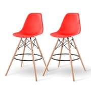 IRIS® Plastic Shell Bar Stool, 2 Pack, Red (586758)