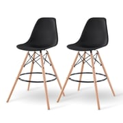 IRIS® Plastic Shell Bar Stool, 2 Pack, Black (586759)